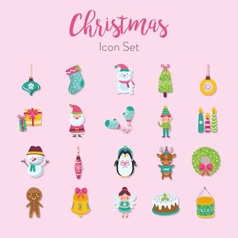 메리 크리스마스 일러스트 디자인 장식 귀여운 아이콘 설정 프리미엄 벡터