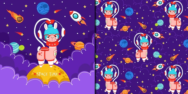 Cute ilama playing in space, illustration and pattern set