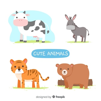 Cute illustrated animals set
