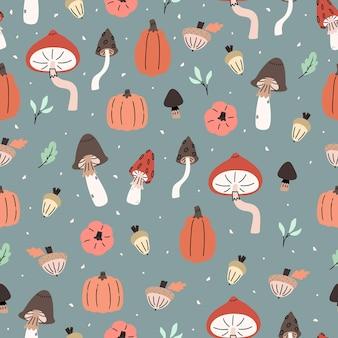 버섯, 호박, 도토리, 견과류, 잎이 있는 귀여운 삽화가 있는 가을 패턴입니다. 원활한 반복된 배경입니다. 원활한 반복된 배경입니다. 벽지, 직물, 스크랩북 종이 디자인.