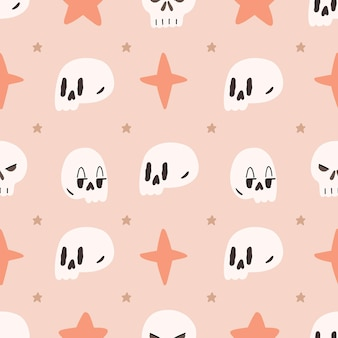 Cute illustrated halloween pattern. seamless repeated background. wallpaper, fabric, scrapbook paper design.