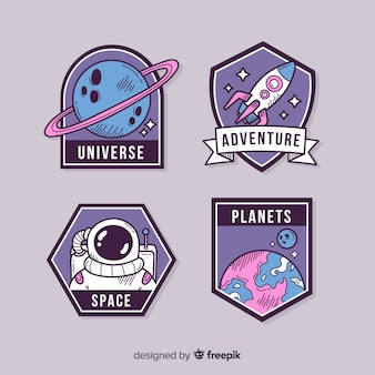 Cute illustrated space stickers pack
