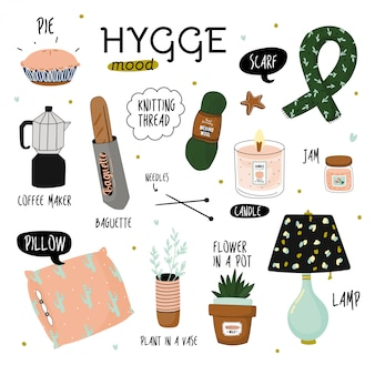 Cute  illustration of autumn and winter hygge elements.  on white background. motivational typography of hygge quotes.