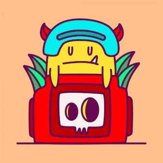 Cute illustration camera doodle monster design