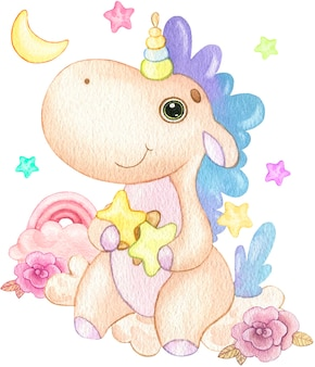 Cute illustration of cartoon unicorn sitting on a cloud with stars and flowers painted in watercolor