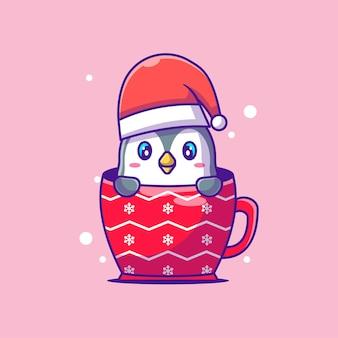 Cute illustration of cute penguin in christmas glass. merry christmas