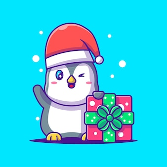 Cute illustration of cute penguin with christmas gift. merry christmas