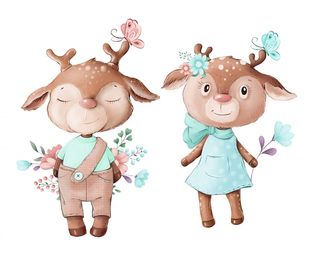 Cute illustration of a deer boy and girl