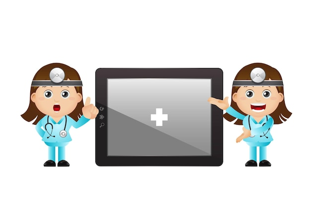 Cute illustration of doctor with tablet