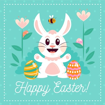 Cute illustration of easter day bunny with lettering