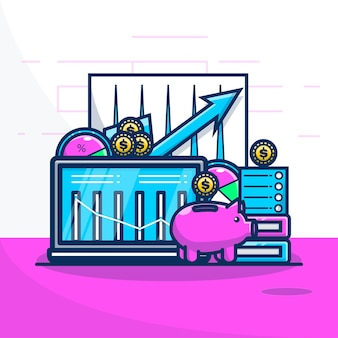 Cute illustration financial economy and piggy bank