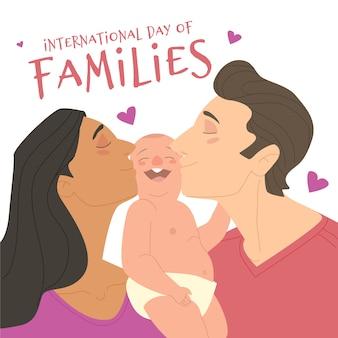 家族の国際デーのかわいいイラスト