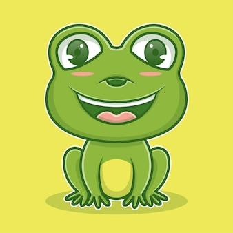 Милая иллюстрация лягушка персонаж значок