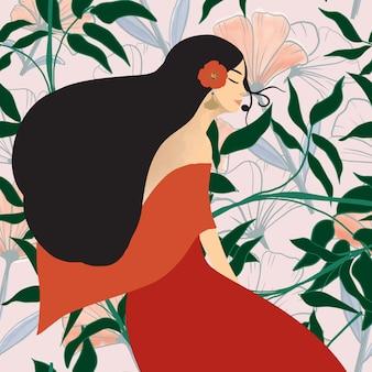 かわいいイラストの女の子と野生の花