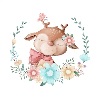 Cute illustration of a girl deer in a wreath of flowers