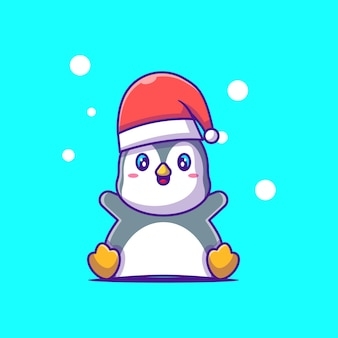 Cute illustration of happy penguin with santa hat merry christmas