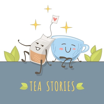 Cute illustration of love cup and tea bag