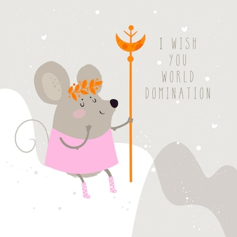 Cute illustration of a mouse, a symbol of 2020