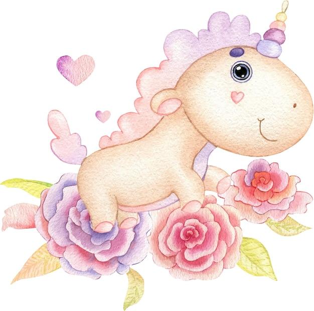 수채화로 그린 핑크 꽃과 잎에 베이지 색 유니콘의 귀여운 그림.