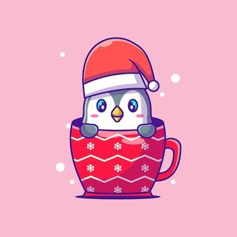 クリスマスグラスのかわいいペンギンのかわいいイラスト。メリークリスマス