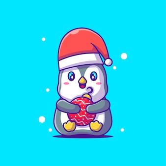Симпатичные иллюстрации милый пингвин с рождественскими шарами. счастливого рождества