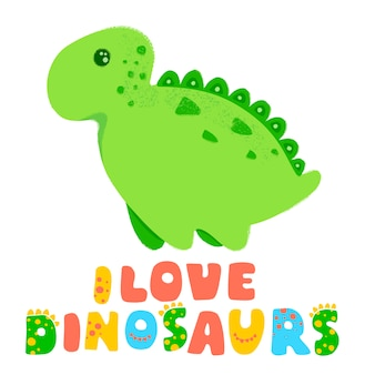 引用と恐竜のかわいいイラスト。