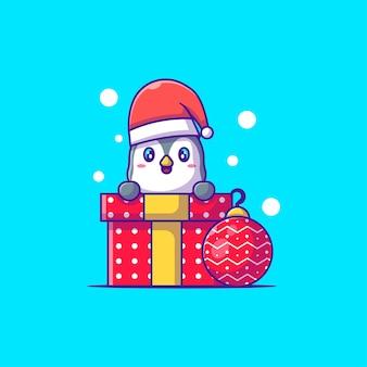 Симпатичная иллюстрация счастливого пингвина с рождественским подарком с рождеством