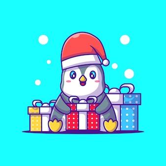 メリークリスマスギフトボックスと幸せなペンギンのかわいいイラスト