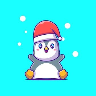 サンタ帽子メリークリスマスと幸せなペンギンのかわいいイラスト