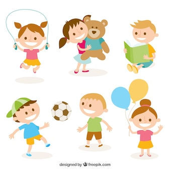 Cute Illustration Of Kids Playing Vector Free Download