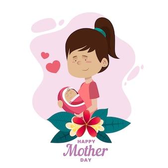 彼女の子供を持つお母さんのかわいいイラスト