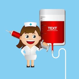 大きな注射器を持つ看護師のかわいいイラスト
