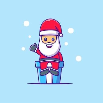 クリスマスの日のサンタクロースのかわいいイラスト