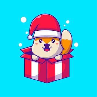 Симпатичные иллюстрации лисы санта-клауса в коробке с рождеством