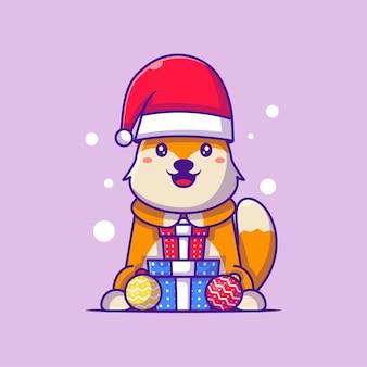 クリスマスプレゼントメリークリスマスとサンタクロースキツネのかわいいイラスト
