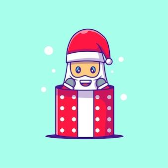サンタクロースのかわいいイラストがギフトボックスに詰まっています。メリークリスマス