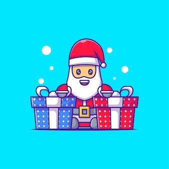 クリスマスプレゼントとサンタクロースのかわいいイラスト。メリークリスマス