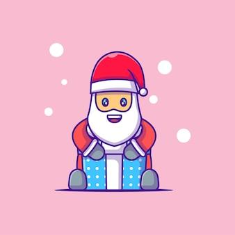 Симпатичные иллюстрации санта-клауса с подарочной коробкой с рождеством