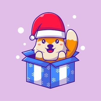 ギフトボックスメリークリスマスのサンタキツネのかわいいイラスト