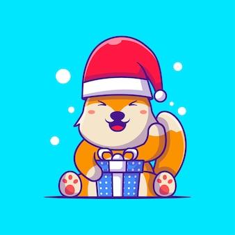 ギフトボックスメリークリスマスとサンタキツネのかわいいイラスト