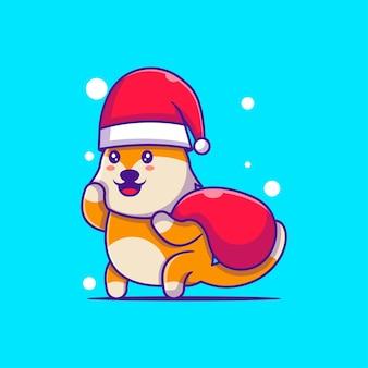 ギフト袋メリークリスマスとサンタキツネのかわいいイラスト