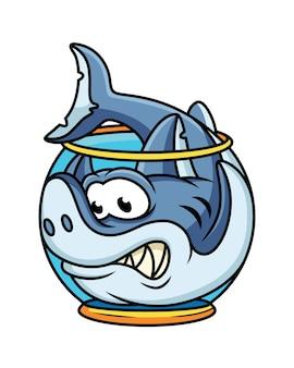 水族館のサメのかわいいイラスト