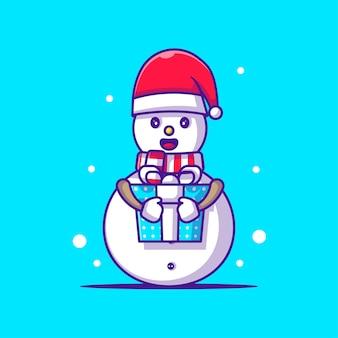 クリスマスプレゼントを持っている雪だるまのかわいいイラスト。メリークリスマス