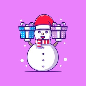 クリスマスプレゼントと雪だるまのかわいいイラスト。メリークリスマス