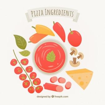 ピザの原料のキュートなイラスト