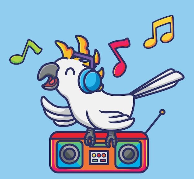 音楽を聴いているかわいいイラストオウムの鳥がヘッドフォンで歌を歌います。動物隔離漫画フラットスタイルアイコンプレミアムベクトルロゴステッカーマスコット