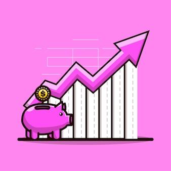 귀여운 그림 돼지 저금통과 그래프가 올라갑니다