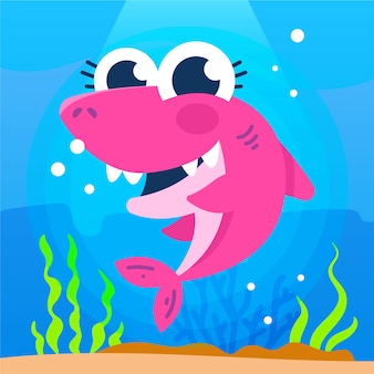 Cute illustration of pink baby shark