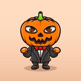 Милая иллюстрация тыквы персонаж хэллоуин