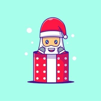 Cute illustration of santa claus stuck in gift box. merry christmas
